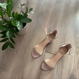 Vince Camuto Rose Suede Sandal with Chunky Heel
